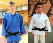 Den Schwarzen Gürtel im Judo bestanden Niklas Kern (Blauer Judogi) und Tom Junker (Weißer Judogi) beide von der DJK Aschaffenburg am letzten Freitag in Inzell.      (Foto Staffa)