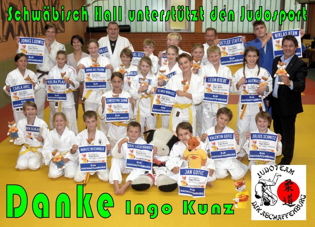 Neue Rückenaufnäher für die Judokids. Danke an den Sponsor Ingo Kunz von Schwäbisch Hall